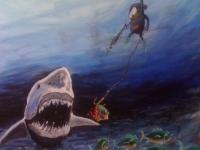 Affe mit Hai